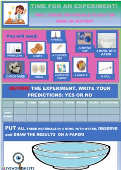 Interactive worksheet AN EXPERIMENT :Will it float or sink?
