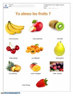 Ficha interactiva Les fruits
