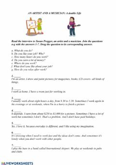 Interactive worksheet Reading Comprehension: An artist and a musician