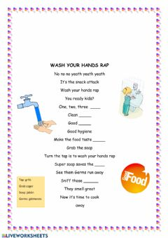 Interactive worksheet Wash your hands rap