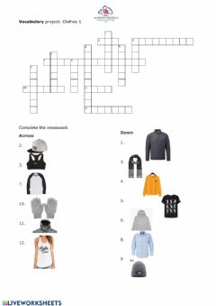 Interactive worksheet Vocabulary Clothes