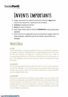 Interactive worksheet Invents importants