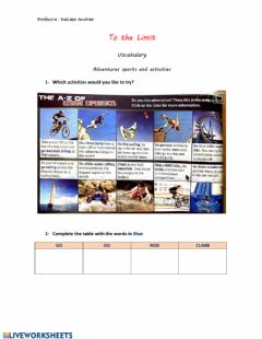 Interactive worksheet To the Limit Vocabulary Sports