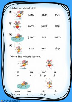 Interactive worksheet 4 action verbs 2. Read and write