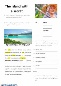 Interactive worksheet The island with a secret