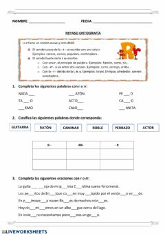 Interactive worksheet El uso de la r