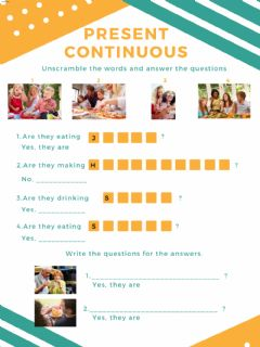 Interactive worksheet Present Continuous -Questions and sentences