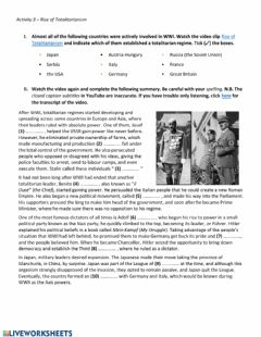 Interactive worksheet Rise of Totalitarianism