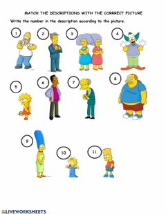 Interactive worksheet Match the descriptions with the pictures