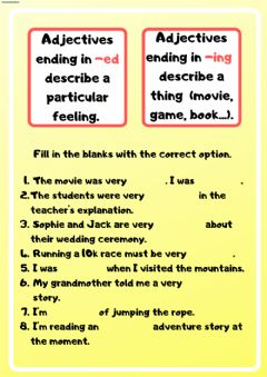 Interactive worksheet Adjectives ending in -ed and -ing