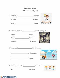Interactive worksheet Past Tense CVC Words and -ied practice