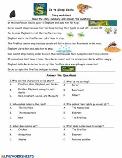 Interactive worksheet Go to Sleep Gecko Story worksheet