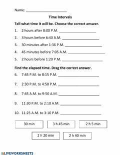 Interactive worksheet Tme Intervals