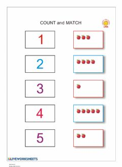 Interactive worksheet Numbers 1 - 5