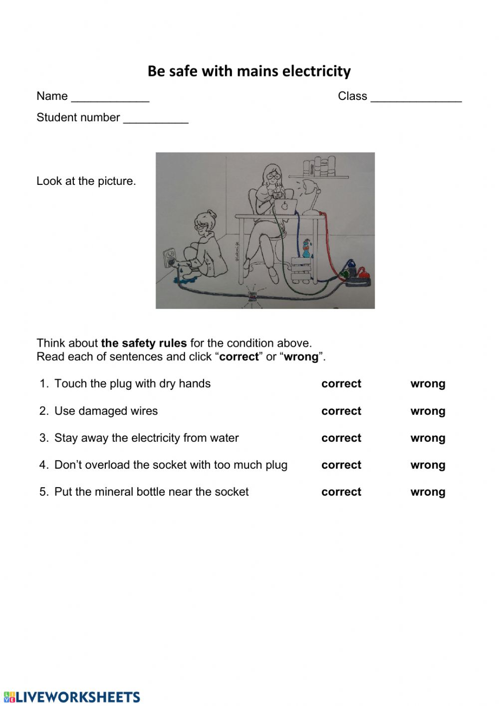 Stay Safe With Electricity Interactive Worksheet