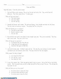 Interactive worksheet Cause and Effect Reading Comprehension