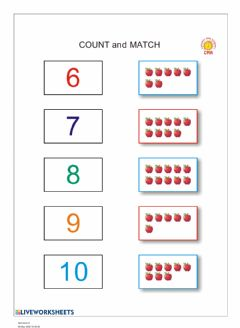 Interactive worksheet Numbers 6 - 10