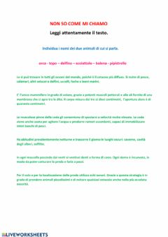 Interactive worksheet Non so come mi chiamo