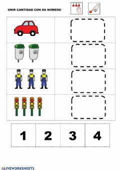 Interactive worksheet Contar 1 al 4