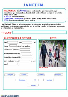 Interactive worksheet Inventar una noticia