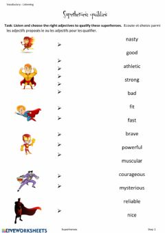 Interactive worksheet Superheroes qualities