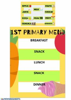 Interactive worksheet Healthy Menu