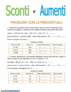 Interactive worksheet Sconto ed aumento