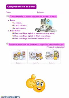 Interactive worksheet Compréhesion d'oral
