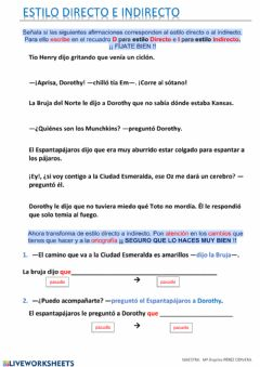 Interactive worksheet Estilo directo e indirecto