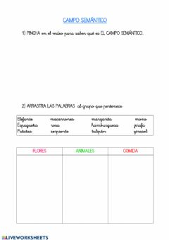 Interactive worksheet Campo semantico