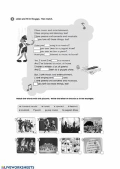 Interactive worksheet Song present perfect