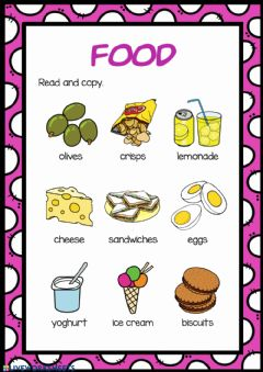 Interactive worksheet Food 1.2. Read and copy