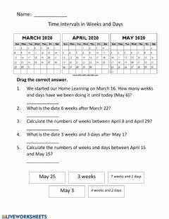 Interactive worksheet Time intervals in weeks and days