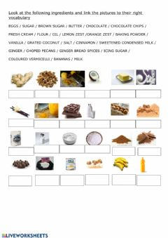 Ficha interactiva Ingredients for a recipe