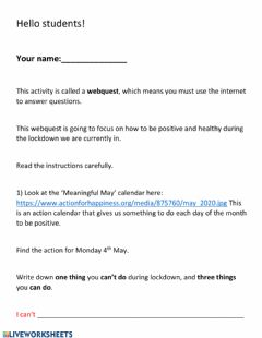 Ficha interactiva Webquest - Wellbeing during lockdown