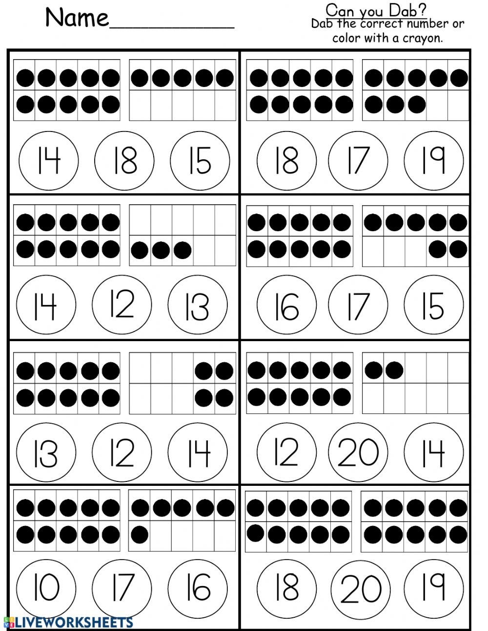 Ten Frame Counting to 20 - Interactive worksheet