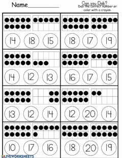 Interactive worksheet Ten Frame Counting to 20