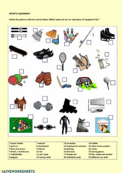 Interactive worksheet Sport equipment