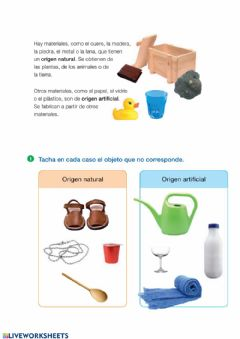 Interactive worksheet El origen de los materiales