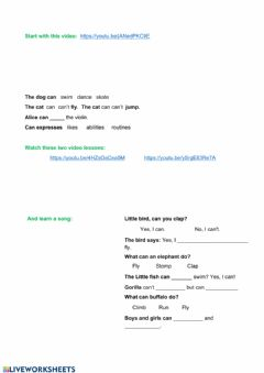 Interactive worksheet Can - Can't videos