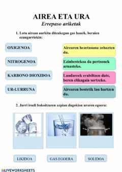 Interactive worksheet Airea eta ura