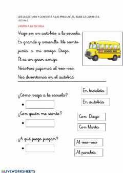 Interactive worksheet Lee y comprende