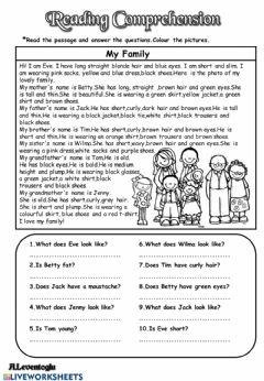 Interactive worksheet REading comprehension about physical appearance