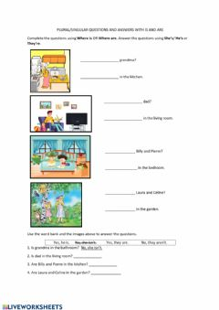 Interactive worksheet Questions-WHERE-YES-NO with IS and ARE