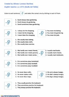 Interactive worksheet Listening: Frequency adverbs