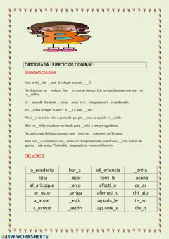 Interactive worksheet Orotgrafia de la b