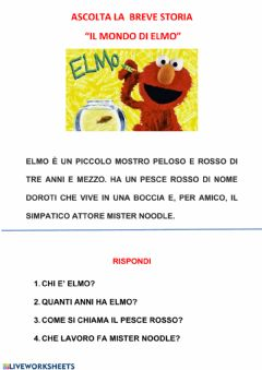 Interactive worksheet Comprensione del  testo- il mondo di Elmo