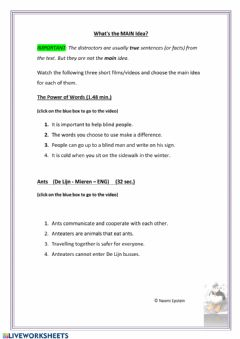 Interactive worksheet Identifying the Main Idea