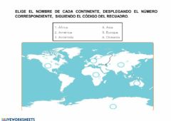 Interactive worksheet Los continentes