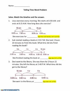 Ficha interactiva Telling Time Word Problem